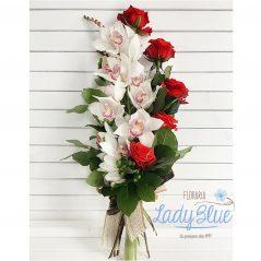 Buchet orhidee si trandafiri B91