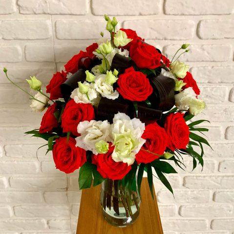 Buchet trandafiri si eustoma B27