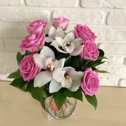 Buchet trandafiri si orchidee B63