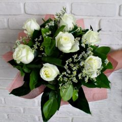 Buchet trandafiri albi B7
