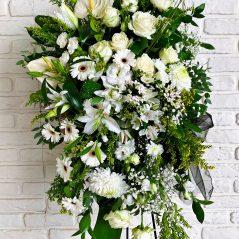 Aranjament funerar cu flori albe AF145