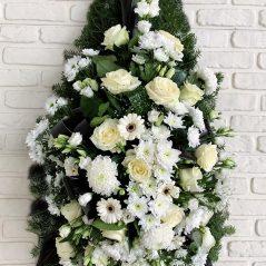 Coroana funerara cu flori albe C101