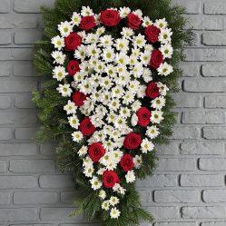Coroana funerara cu trandafiri si crizanteme C156