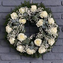 Coronita funerara cu trandafiri albi