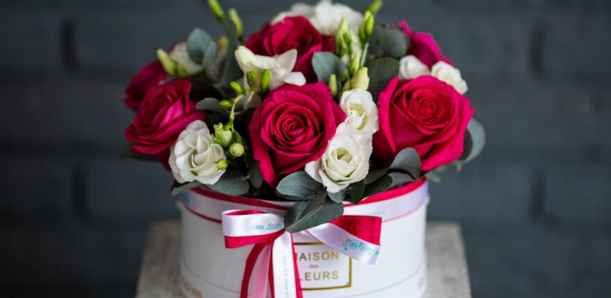 Aranjament floral în cutie. Comandă online de la Lady Blue