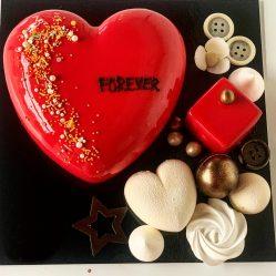 Tort Inima cu decor – Rosu