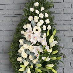 Coroana funerara cu crini si orchidee C651