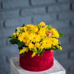 Flori galbene in cutie