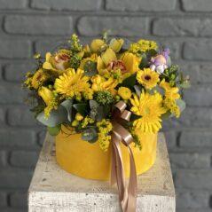 Flori galbene în cutie