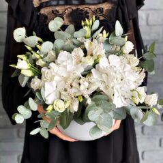 Flori albe în vas ceramic AF486